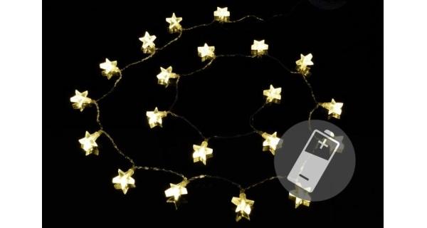Řetěz LED - hvězdy - teplá bílá