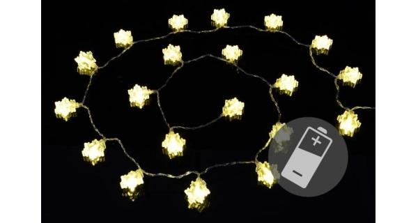 Řetěz LED - vločky - teplá bílá