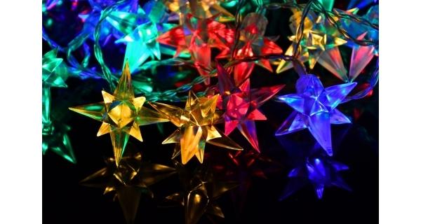 Řetěz s hvězdami 40 LED - barevná