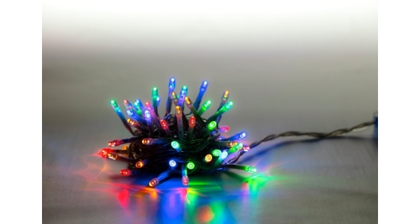 Řetěz světelný 100 LED - barevná - transparent - mód