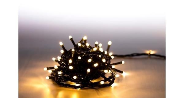 Řetěz světelný 100 LED - teplá bílá - zelená