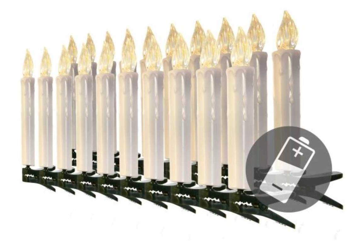 Řetěz svíčky 20 LED bezdrátové - teplá bílá - 18000428