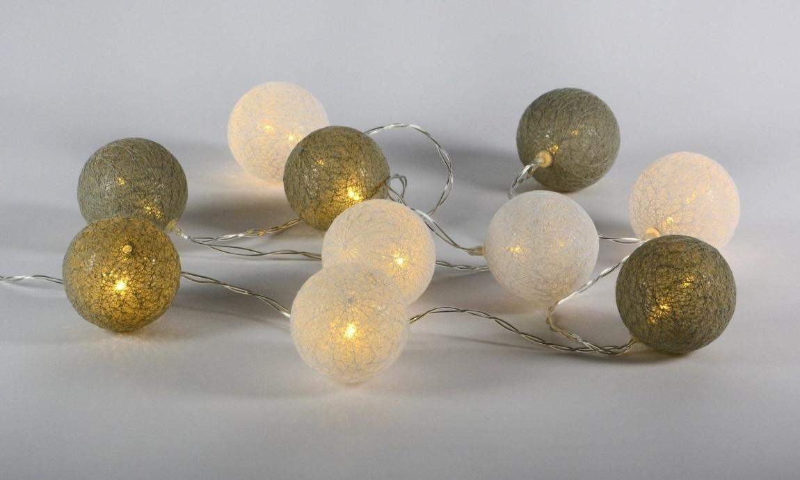 Řetěz tkané koule 10 LED - teplá bílá - 18000415