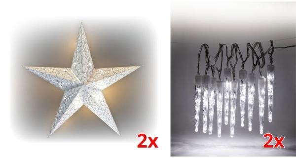 Sada LED osvětlení (2x Svítící hvězda + 2x Rampouchy LED 10 ks)