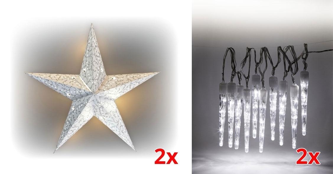 Marimex Sada LED osvětlení (2x Svítící hvězda + 2x Rampouchy LED 10 ks) - 19900056