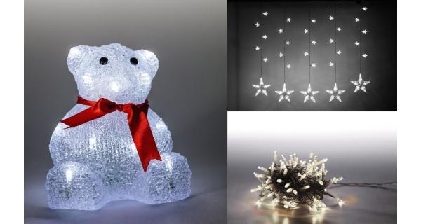Sada LED osvětlení (Medvěd + světelný řetěz hvězdy + světelný řetěz 100 LED - studená bílá)