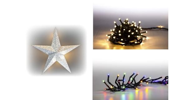 Sada LED osvětlení (Svítící hvězda LED + světelný řetěz 200 LED + světelný řetěz 100 LED)