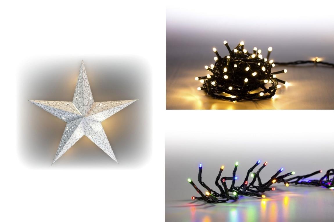 Marimex Sada LED osvětlení (Svítící hvězda LED + světelný řetěz 200 LED + světelný řetěz 100 LED) - 19900059