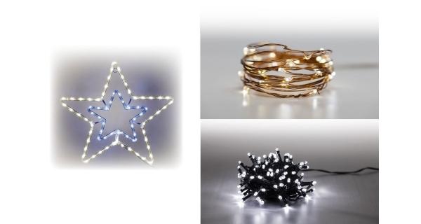 Sada LED osvětlení (Svítící hvězda + Svítící struna + světelný řetěz 100 LED 5 m. - studená bílá)