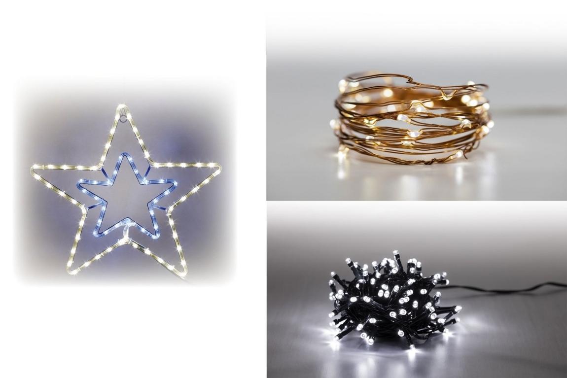 Marimex Sada LED osvětlení (Svítící hvězda + Svítící struna + světelný řetěz 100 LED 5 m. - studená bílá) - 19900055