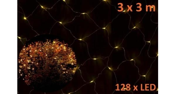 Síť 3 x3 m - 128 LED - teplá bílá