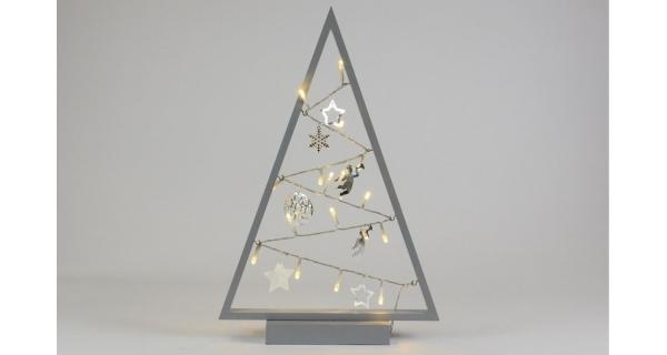 Stromeček 15 LED - šedá
