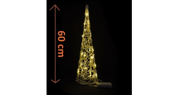 Stromek abstraktní - 60 cm - akryl - teplá bílá