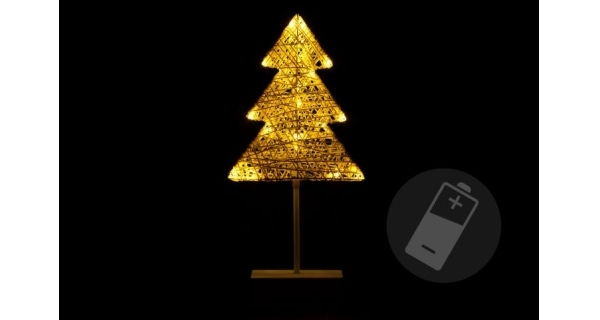 Stromek vánoční stojící - 40 cm - ratan - 20 LED
