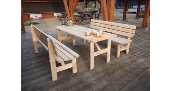 Stůl dřevěný Viking 180 cm + 2x lavice Viking 180 cm