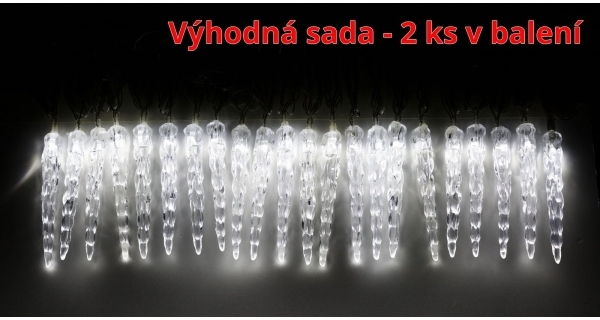 Světelné mini rampouchy 40 LED - studená bílá - sada 2 ks