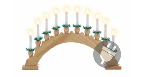 Svícen dřevěný 10 LED