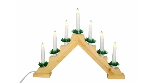 Svícen dřevěný - 7 LED - teplá bílá
