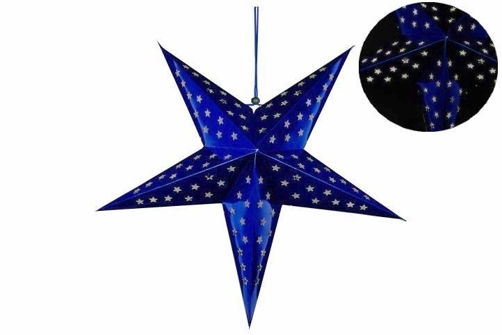 Svítící hvězda 10 LED - modrá - 18000164