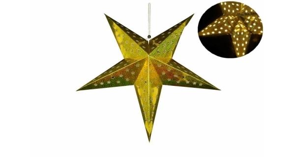 Svítící hvězda 10 LED - zlatá