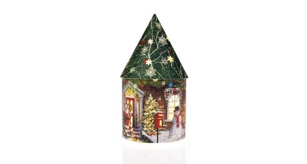 Svítící vánoční domeček 5 LED - zelená