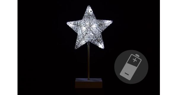 Vánoční hvězda stojící 10 LED - stříbrná