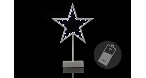 Vánoční hvězda stojící 20 LED - stříbrná