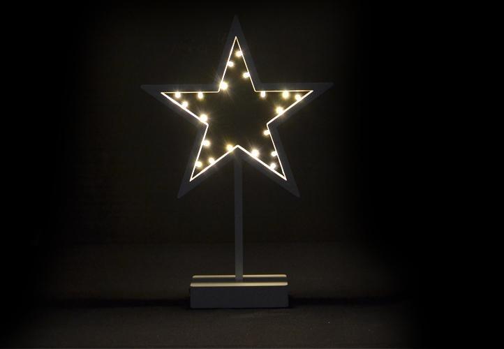 OEM Vánoční dekorace - svítící hvězda na stojánku - 38 cm, 20 LED diod D28280