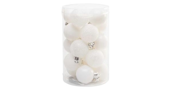 Vánoční koule 4 cm - bílý set