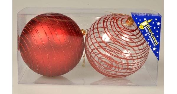 Vánoční koule s pruhy 10 cm - červená