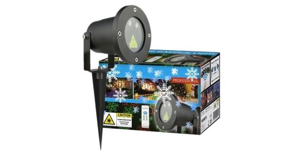 Vánoční laserový projektor - zelená, červená, 8 efektů s časovačem, 20x20 m