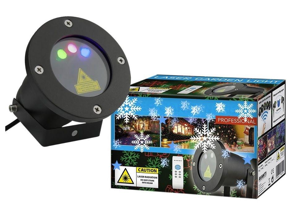 Vánoční laserový projektor - zelená, červená s časovačem, 20x20 m - 18000182