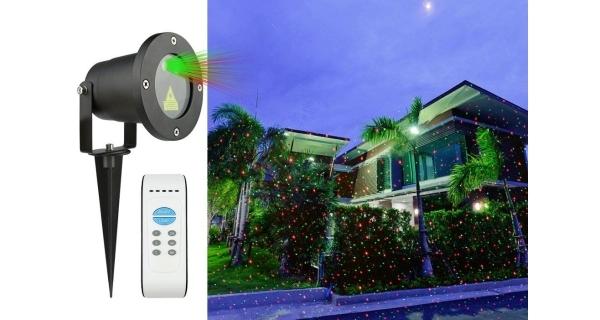 Vánoční laserový projektor - zelená, červená, s časovačem, 20x20 m