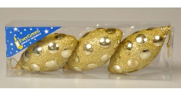 Vánoční šiška se zrcátky 12 cm - zlatá