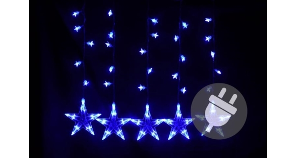Závěs světelný hvězdy - 5 ks - 100 LED - modrá
