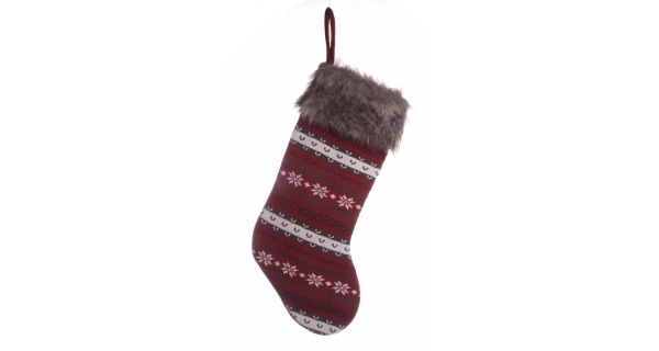 Závěsná ponožka - červená/šedá